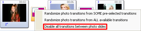 Disable transition effects on photo slideshow