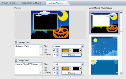 burn halloween photos as dvd or export them to videos for sharing